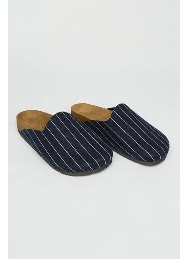 Penti Striped Felt Terlik Mavi